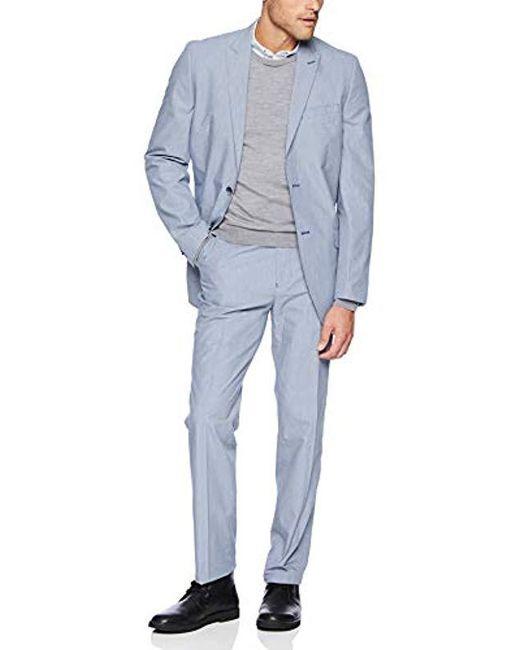 Ben Sherman Solid Blue Stretch Cotton Suit for men