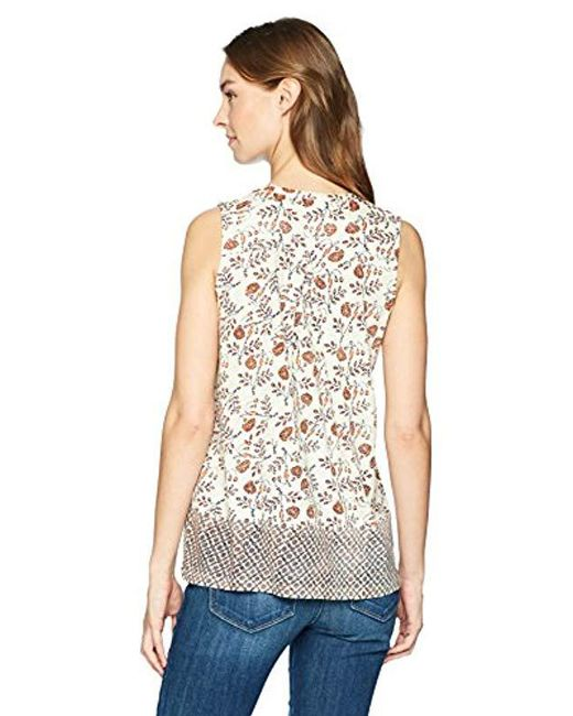 14dcaebea8bf Lyst - Lucky Brand Border Print Tank Top in Natural - Save 32%