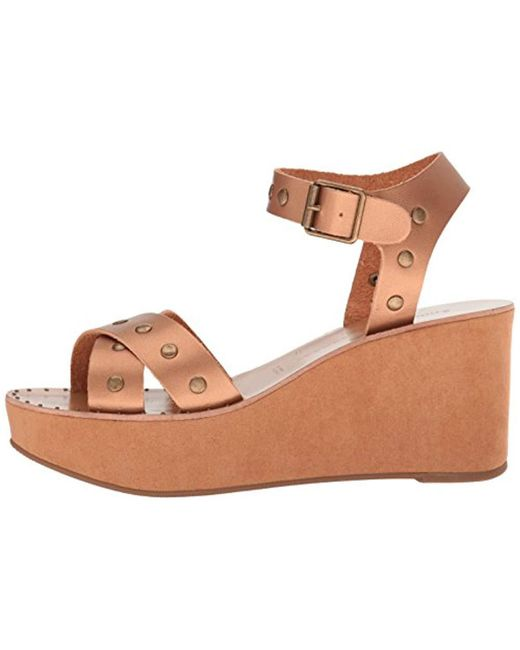 97506d0cd34c Lyst - Chinese Laundry Ozzie Burnished Wedge Sandal in Brown - Save 44%