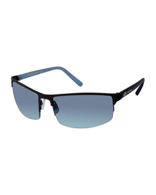 U.S. POLO ASSN. Black Pa1004 Rectangular Semi-rimless Uv Protective Sunglasses   All-season   A Classic Gift for men