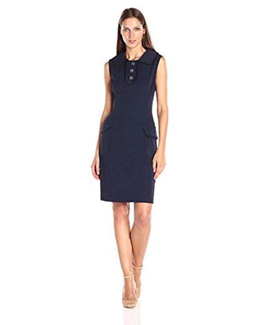 Nanette Nanette Lepore - Multicolor Slvls Sheath Dress W/patch Pockets And Oversized Collar - Lyst