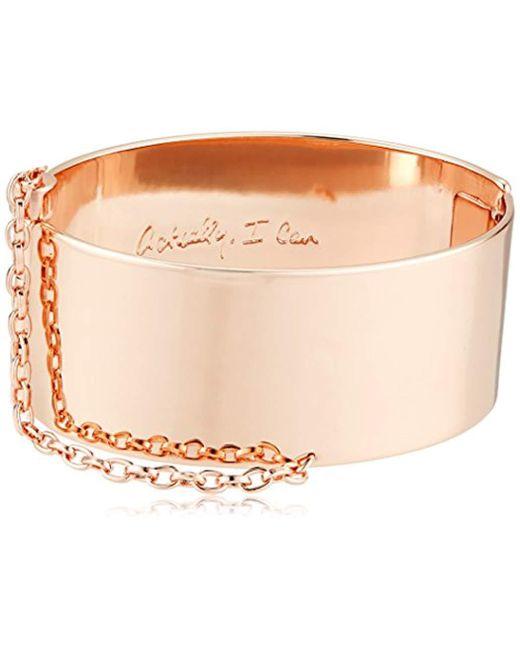 Rebecca Minkoff - Metallic Handcuff With Chain Cuff Bracelet - Lyst