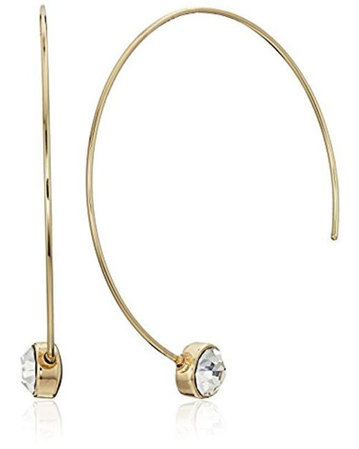 Guess - Metallic S Dainty Wire C Hoop Earrings With Stone Details - Lyst