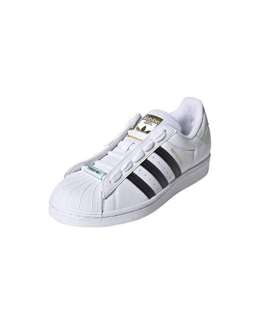 Adidas Originals Womens Superstar White/black/frozen Green 10.5