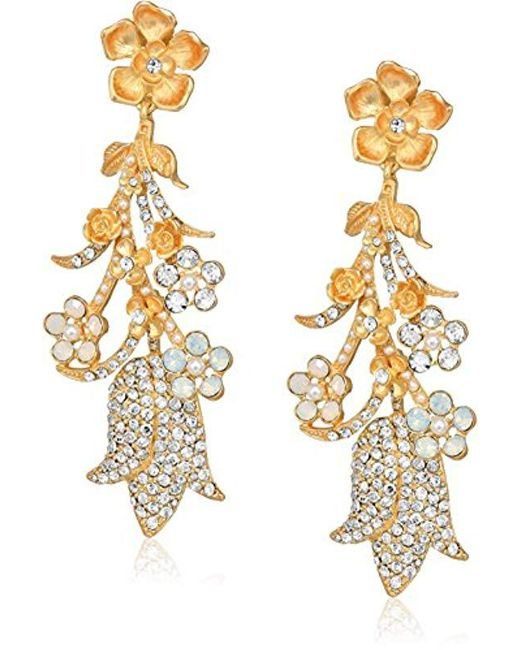 Badgley Mischka - Metallic Drama Pave Flower Crystal Gold Clip On Earrings, One Size - Lyst