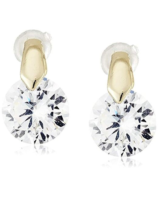 Anne Klein - Metallic Hey Cubic Zirconia Stud Earrings - Lyst