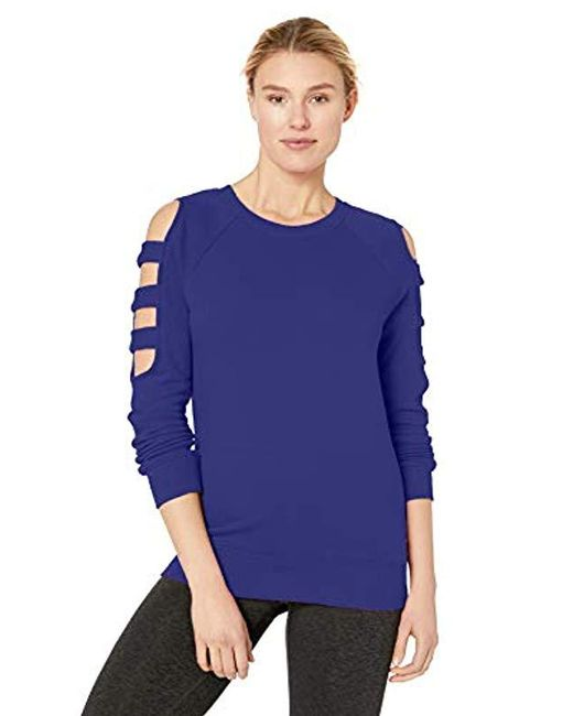 Marc New York Blue Crewneck With Sleeve Cut-outs Pullover