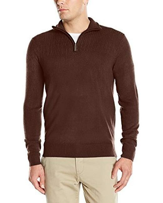 Geoffrey Beene Brown Quarter Zip Sweater for men
