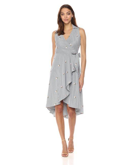 Calvin Klein Black Sleeveless Cotton Faux Wrap Midi With Collar Dress