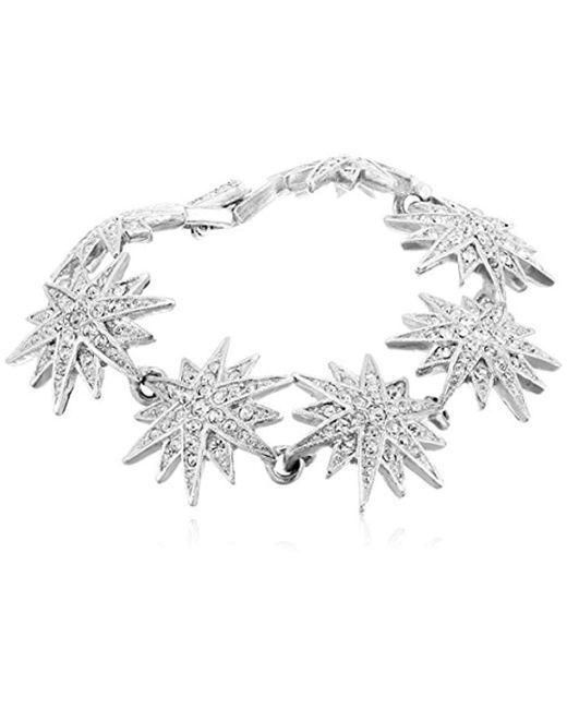 "Kenneth Jay Lane - Metallic Silver And Crystal Starburst Bracelet, 7.25"" - Lyst"