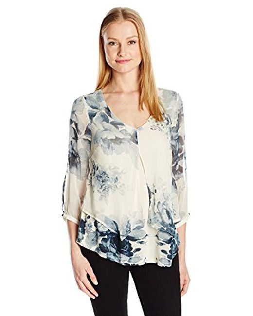 0ff8105147e2cd Lucky Brand - Multicolor Open Floral Printed Top - Lyst ...