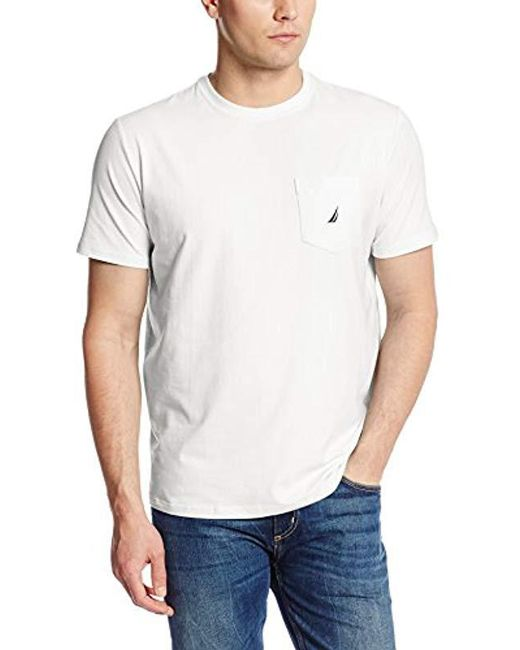 90db3632 Nautica - White Solid Crew Neck Short Sleeve Pocket T-shirt for Men - Lyst  ...