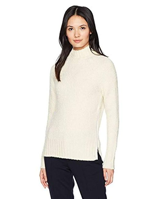 Lacoste - Natural Terry Heavy Sweater With Zip On The Side - Lyst