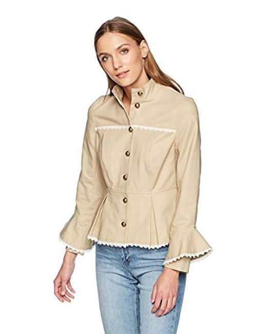 Nanette Nanette Lepore - Natural Stand Collar Button Front Military Jkt W/peplum - Lyst