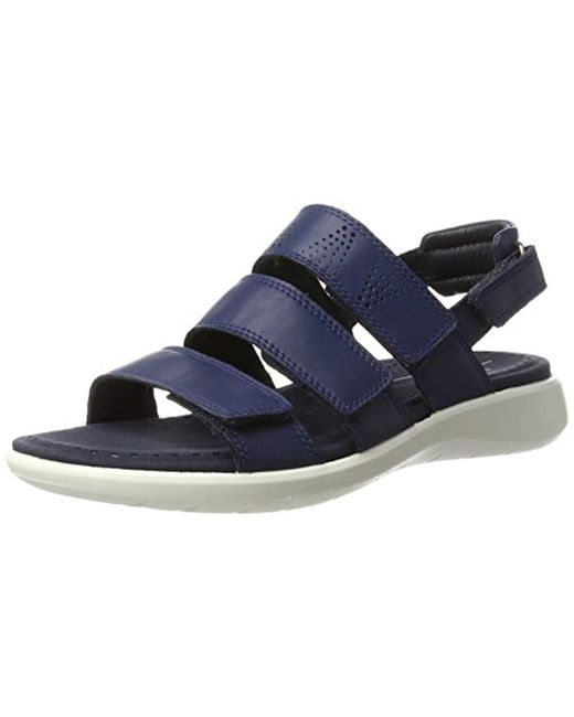 c1b03c92823d Lyst - Ecco Soft 5 3-strap Flat Sandal in Blue - Save 9%