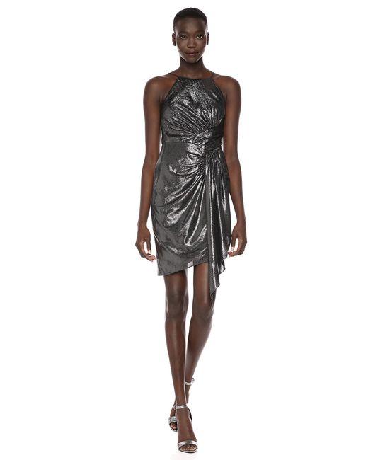 Adrianna Papell Black Metallic Jersey Dress