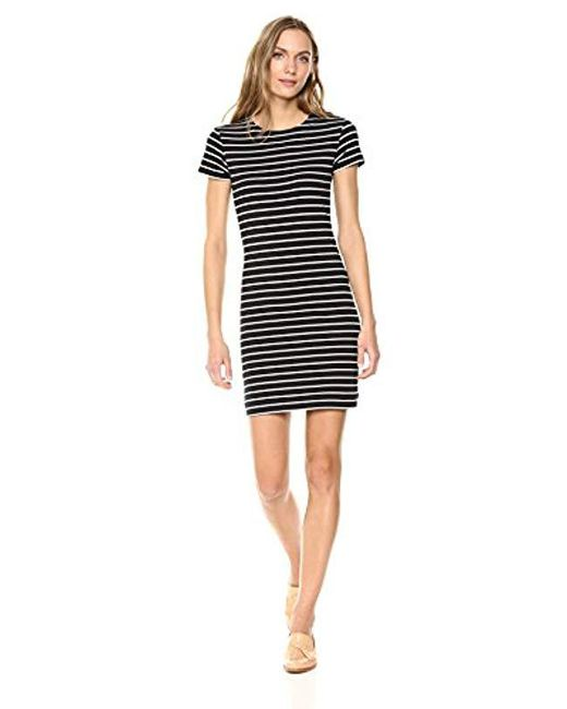 French Connection Black Tim Knit Stripe Dress