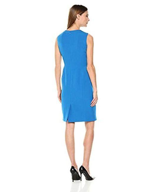 8c53e403 ... Kasper - Blue Solid Round Neck Stretch Crepe Dress - Lyst