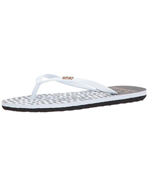 Roxy - White Viva Stamp Flip Flop Sandal - Lyst