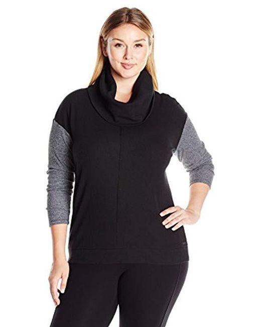 Calvin Klein - Black Performance Plus Size Color Block Thermal Tunic - Lyst