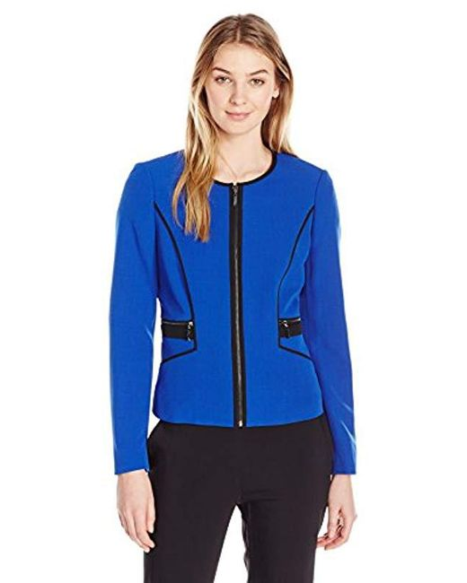 35f6a275772 Kasper - Blue Petite Size Stretch Crepe Contrast Piping Jacket - Lyst ...