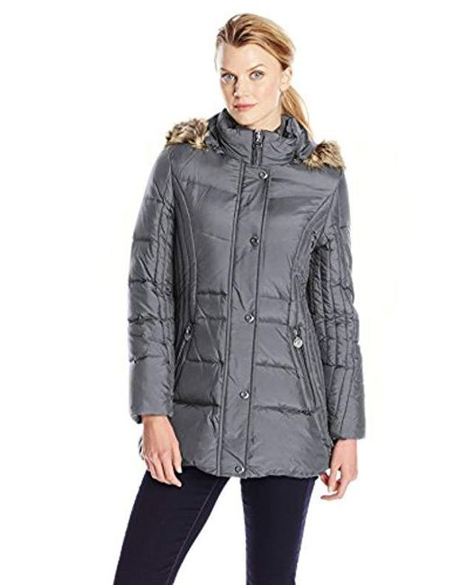 Anne Klein - Gray Down Coat With Faux Fur-trimmed Hood - Lyst