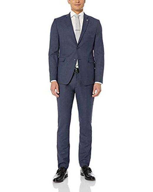 Original Penguin Blue Slim Fit Suit for men