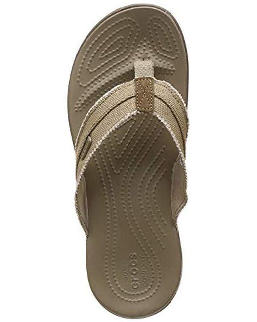 3ce2c3b2ed52 Crocs™ - Natural Santa Cruz Canvas Flip Flop for Men - Lyst ...