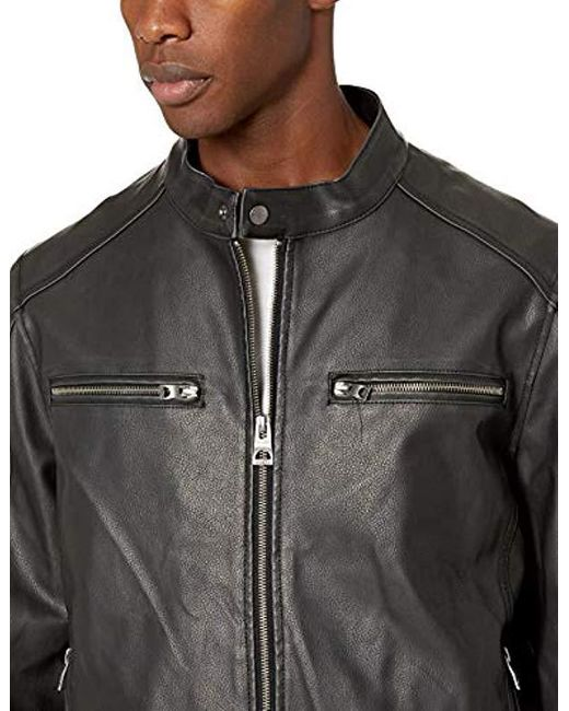 Guess Faux Leather Hooded Moto Jacket in Black for Men ...