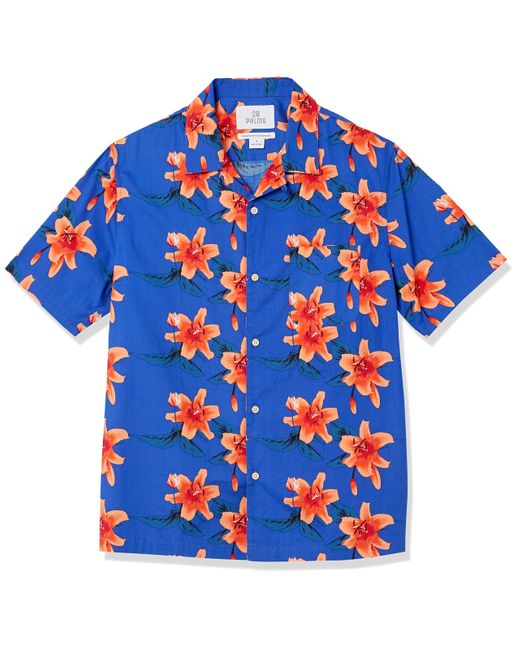 28 Palms Blue Relaxed-fit 100% Cotton Tropical Hawaiian for men