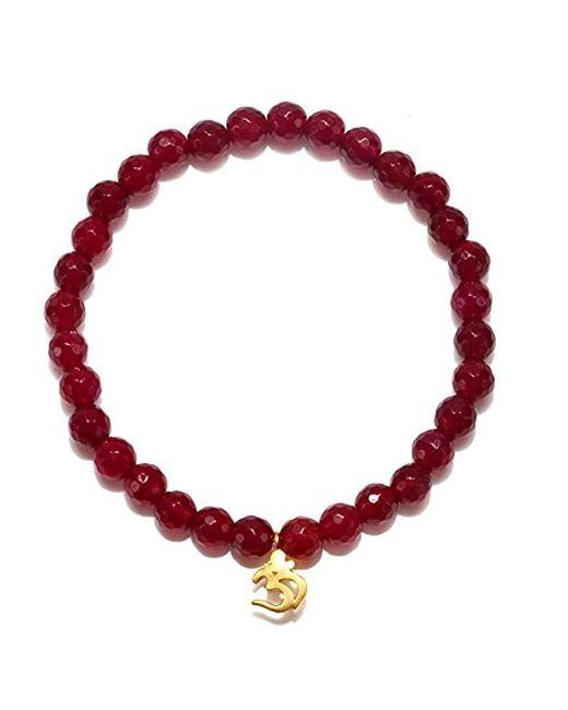 Satya Jewelry - S Fucshia Agate Gold Om Stretch Bracelet, Red, One Size - Lyst