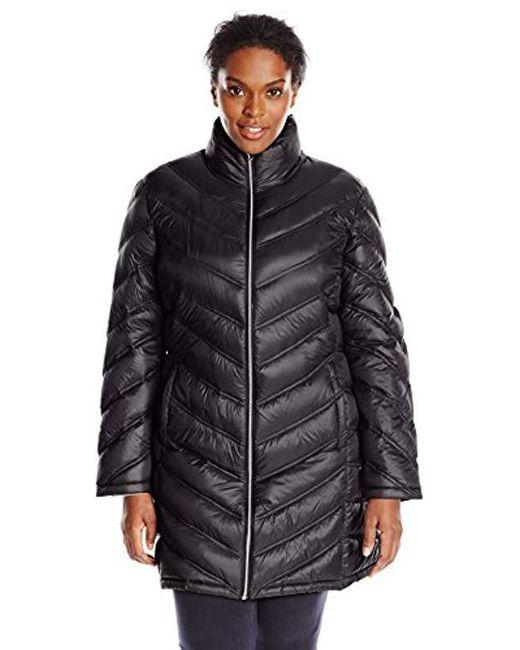 Calvin Klein - Black Plus-size Chevron-quilted Packable Down Coat - Lyst