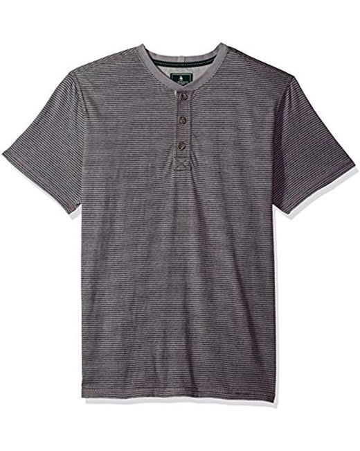 G.H.BASS - Gray Short Sleeve Carbonized Jersey Henley for Men - Lyst