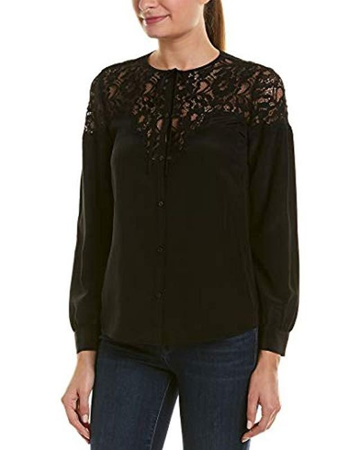 Rebecca Taylor - Black Long Sleeve Silk And Lace Top - Lyst