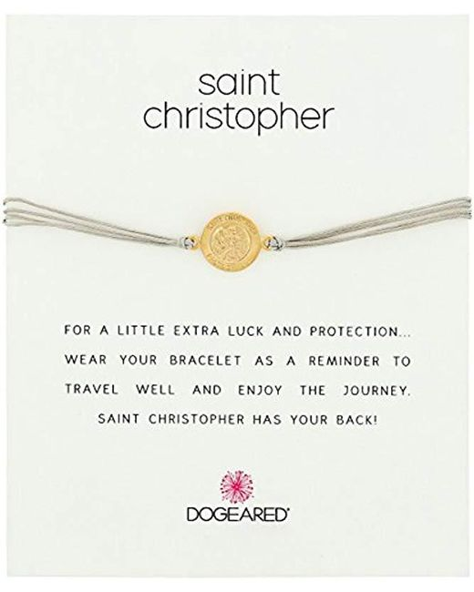 Dogeared - Metallic St. Christopher On Pebble Cord Necklace - Lyst
