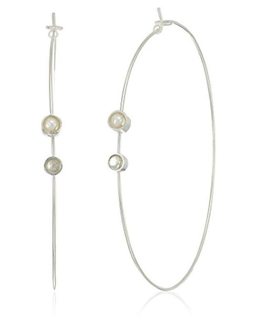 Dogeared - Metallic Playing By Ear Wing Lip Card Pearl And Silver Labradorite Gem Bezel On Large Hoop Earrings, Sterling Silver - Lyst