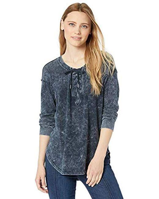 f0c011a68 Splendid - Blue Lace Up Long Sleeve Tee T-shirt - Lyst ...