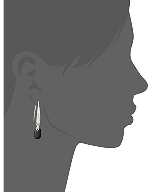 Napier - Metallic Silver-tone And Jet Threader Drop Earrings - Lyst