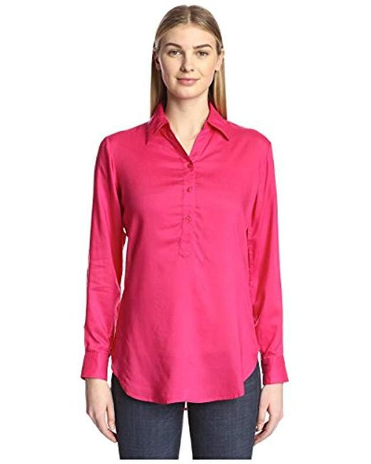 James & Erin - Pink Solid Long Sleeve Placket Shirt - Lyst