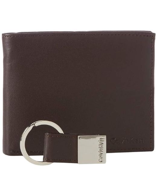 Calvin Klein - Brown Rfid Blocking Leather Bifold Wallet for Men - Lyst