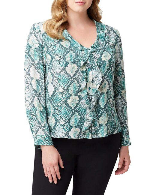 Tahari Green Plus Size Long Sleeve Ruffle Front Blouse