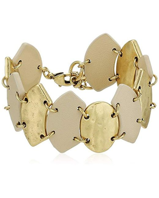 Lucky Brand Metallic S Leather Link Bracelet