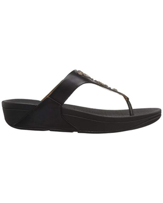 80754079c8e905 Lyst - Fitflop The Skinny Toe-thong Sandals-crystal in Black - Save 34%