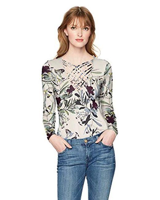 Guess - Multicolor Long Sleeve Sherri Strappy Bodysuit - Lyst ... 71867e545