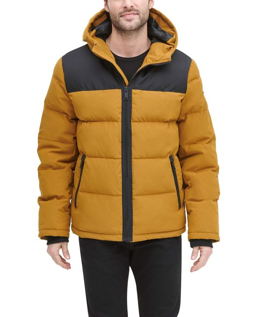 DKNY Metallic Shawn Quilted Mixed Media Hooded Puffer Jacket for men