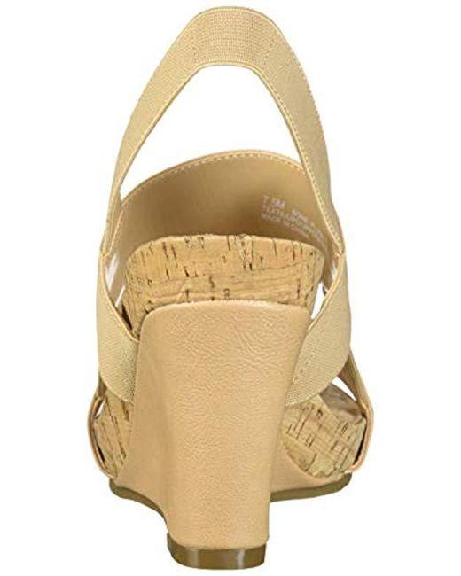 fda046ef55 ... Aerosoles - Multicolor Bone Plush Wedge Sandal - Lyst ...