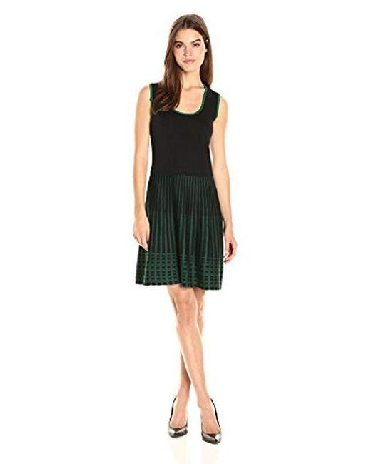 Anne Klein - Black Sleeveless Knit Fit & Flare Dress - Lyst