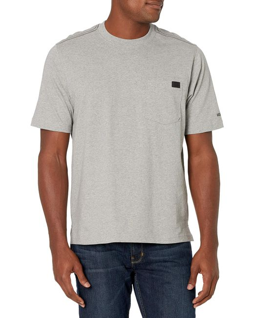 Wolverine Gray Guardian Cotton Pocket Tee Ss for men