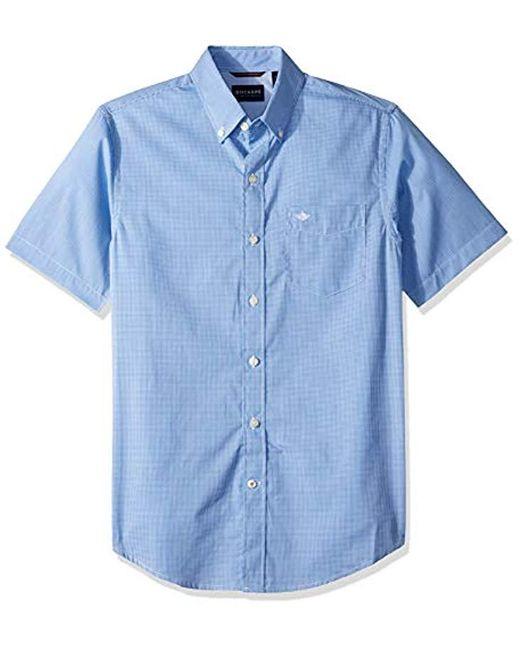 Dockers Blue Short Sleeve Button-down Comfort Flex Shirt for men
