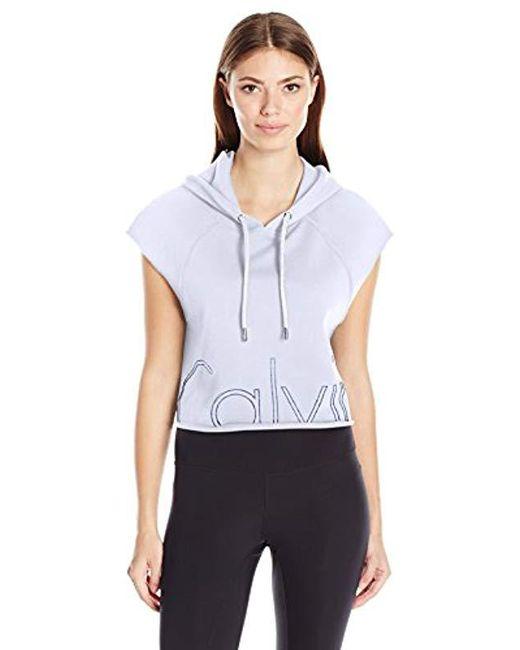 Calvin Klein - White Performance Outline Cut Off Logo Crop Pullover Hoodie - Lyst